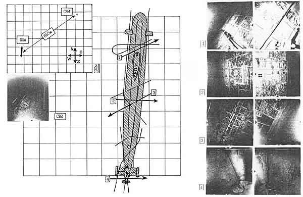 """...атомной подводной лодки (АПЛ)  """"К-8 """", затонувшей в... Схема обследования автономным аппаратом  """"Л-2 """" АПЛ..."""